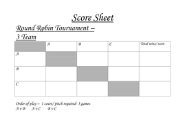 Round Robin Tournament Sheets Teaching Resources