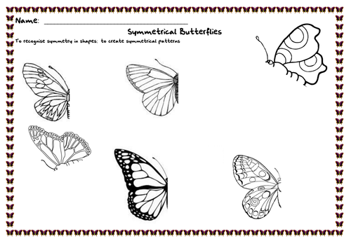 Drawing Lines To Nearest Cm : Symmetrical butterflies by renosparks teaching resources