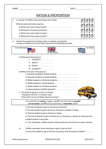 Ks3 Maths Worksheets Ratio Amp Proportion By Beachman0274