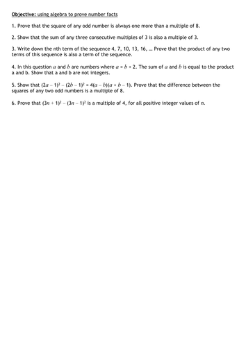 Algebraic Proof Resources Tes
