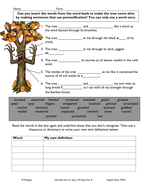 Personification worksheet for weak pupil