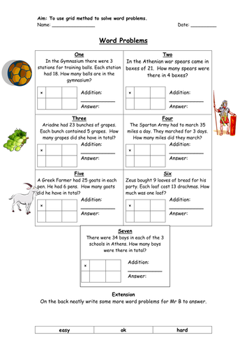 Grid Method Word Problems by jbdevon - Teaching Resources - TES