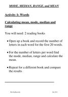 KS2 Maths: MODE, MEDIAN, RANGE, and MEAN