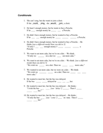 Exercises for practising conditionals