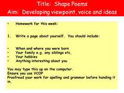 Shape Poems By Leandri Lotter Teaching Resources