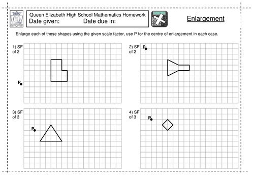KS3 Enlargement by a scale factor worksheet by jlcaseyuk
