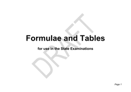 Maths Exam Formula and Tables