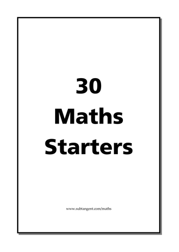 30 Maths Puzzles Lesson Starters by chuckieirish