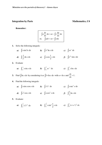 Maths KS5 Core 4: Integration by Parts worksheets by chuckieirish ...
