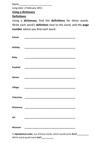 Definition Blank Worksheet : Dictionary worksheet by michaelgrange teaching resources