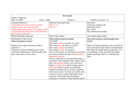 3 lesson plans introducing time to Y2