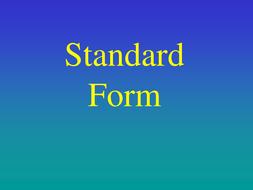 KS4 Maths Number: Standard Form
