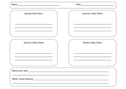 Haiku Poems by jmunnelly Teaching Resources Tes – Elements of Poetry Worksheet