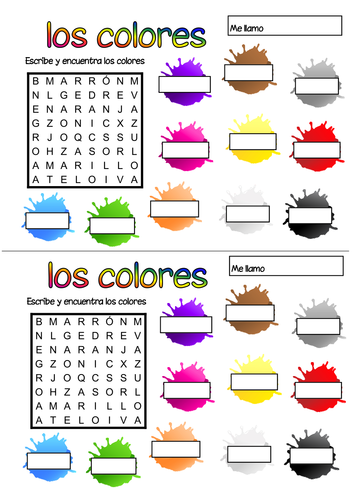 Spanish colours wordsearch   Teaching Resources