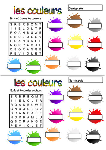 french colours wordsearch by geekie teaching resources tes. Black Bedroom Furniture Sets. Home Design Ideas