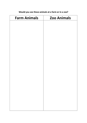 sort the farm & zoo animals by kayld - Teaching Resources - TES