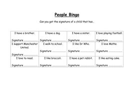 meeting your new class people bingo