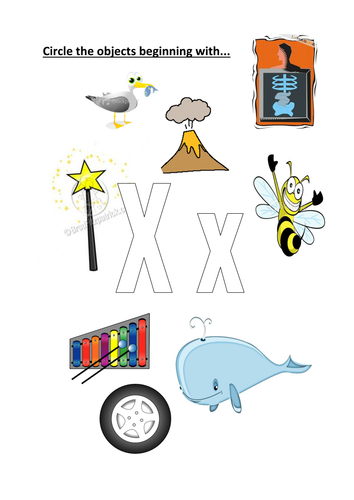 Worksheets Pictures That Start With X circle objects that start with xx by kayld teaching resources tes preview resource