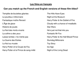 French film titles of english films