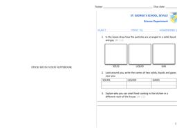 7G Homework worksheet (solids liquids gases)