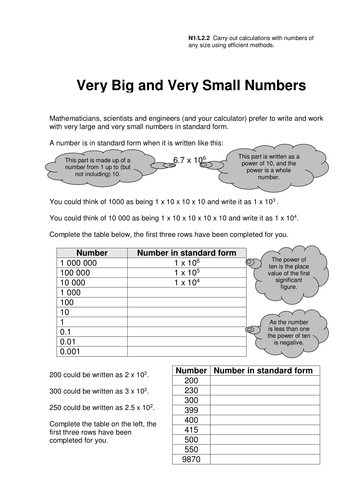 Worksheets Standard Form Worksheet gcse standard form worksheets by eugenesmith teaching resources bignumbersandsmallnumbersv2 pdf