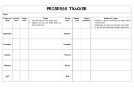 tracking sheet template for teachers pupil tracking sheet by jxn teaching resources tes