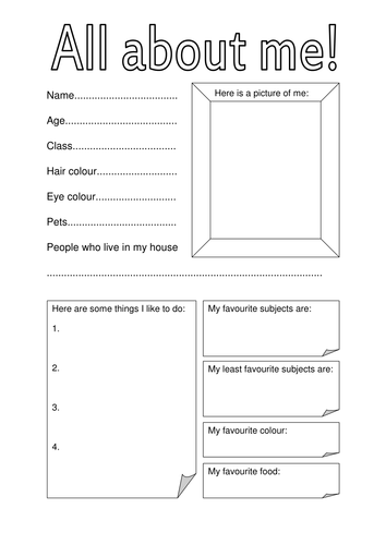 All About Me fact file for first day of term by hannahw2 ...