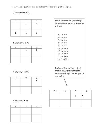 x 10 and x 100 worksheets by pumpkinsoup88 - Teaching Resources - Tes