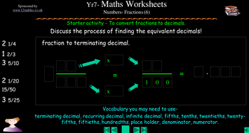 ks converting fractions to decimals worksheets by squidley   toconvert fractions to decimalsppt