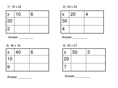 Long Multiplication Box Method Worksheet by TheChal1 Teaching – Ks2 Grid Method Multiplication Worksheet