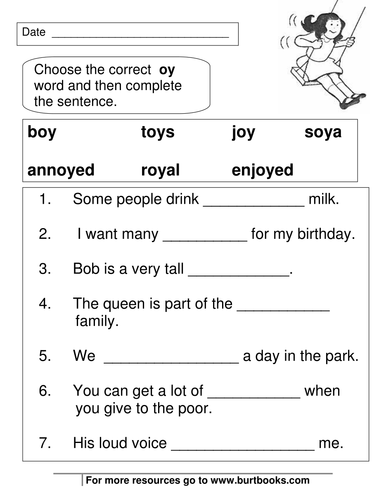 Phonics Worksheets Oy And Oi Sounds By Coreenburt