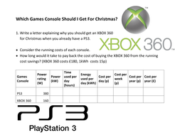 Game console energy usage worksheet by noblebrian | Teaching Resources