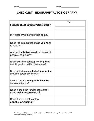 Checklists for 14 different genres by olivia987 teaching for Bio questionnaire template