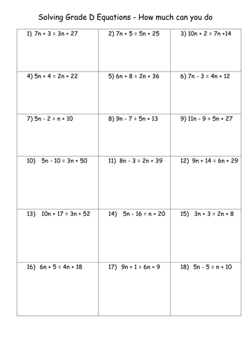 Worksheets Solving Linear Equations Worksheets solving equations worksheets by mrbuckton4maths teaching resources tes