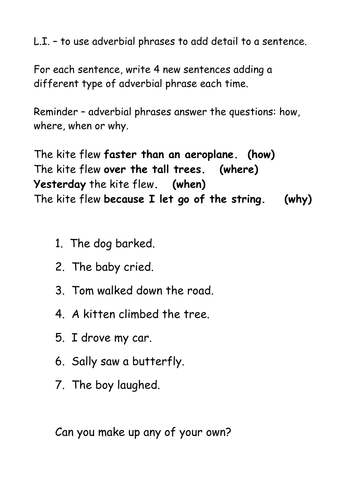 Adverbial phrases by Nickybo - Teaching Resources - TES