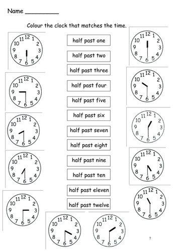 Time to the half hour by s0402433 - Teaching Resources - TES