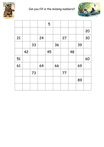 Missing numbers on 100 square by s0402433 - Teaching Resources - TES