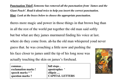 Add punctuation to a text by lathburg - Teaching Resources - Tes