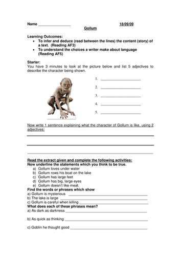 Jabberwocky Worksheet Excel Lesson Observation Plan And Resources  Gollum By Fluffykat  How To Budget My Money Worksheet Excel with Worksheet For English Word Lesson Observation Plan And Resources  Gollum By Fluffykat  Teaching  Resources  Tes Math Worksheets For Grade 4 Printable Pdf