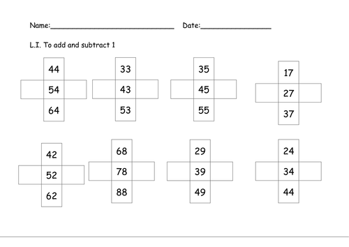Add and subtract 1 and 10 by Nickybo Teaching Resources TES – Subtract 10 Worksheet