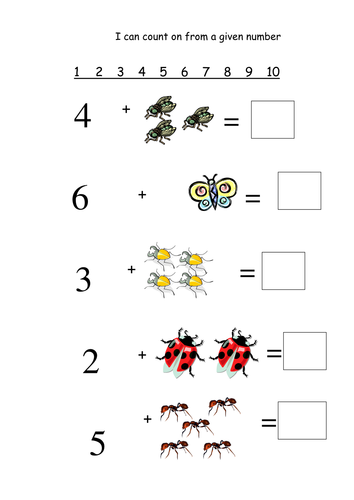 Counting on from a given number: Minibeasts by joycs