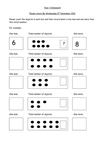 One more and one less worksheet by Kelly0404 - Teaching Resources ...