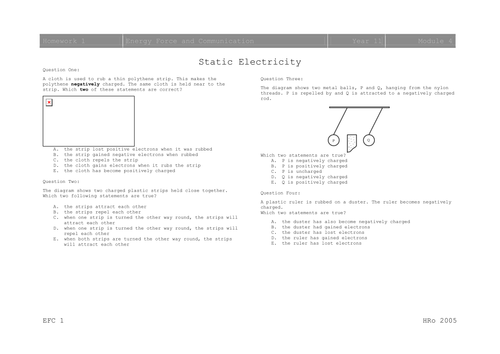 Electrostatics Worksheets by mousey80 - Teaching Resources - TES