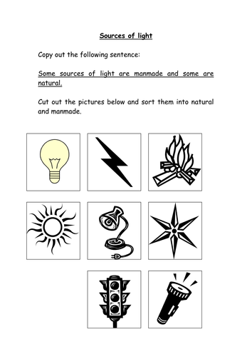 Manmade And Natural Light Sources 6124195 on Natural And Artificial Sources Of Light Worksheet
