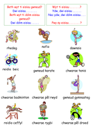 welsh sports chwaraeon vocabulary sheet by groov e chik