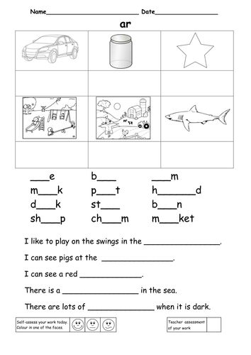 Differentiated worksheets for the digraph ar by ruthbentham ...