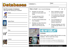 Database worksheet, defining and creating by clickschool | Teaching ...
