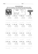 Mental subtraction worksheet