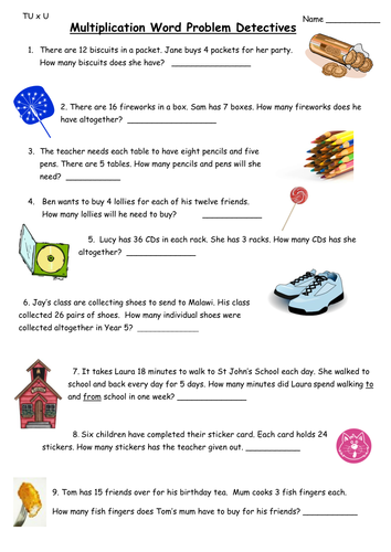 Multiplication Word problems by ali273 - Teaching Resources - Tes
