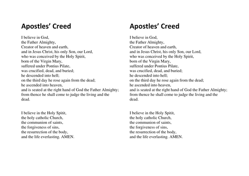 It is a graphic of Candid Printable Apostles Creed